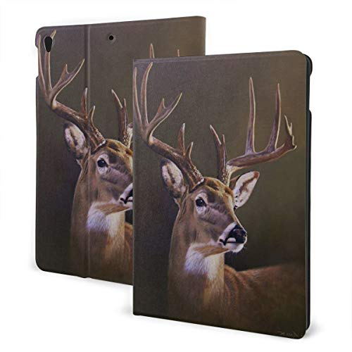 Nature Deer Paintings Fit Generation Ipad 10.2 Case - Slim Lightweight Smart Shell Stand Cover with Translucent Frosted Back Protector