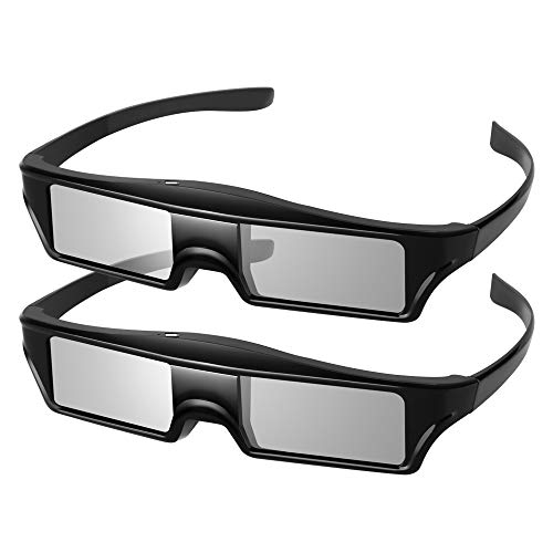 Elikliv 2 Pack 3D Glasses Rechargeable 3D Active Shutter Glasses Compatible with Epson Sony 3LCD Projectors, 3D Blue Tooth TVs, can't for DLP projectors.