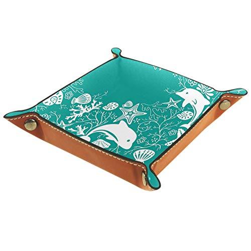 Caja de almacenamiento pequeña, bandeja de valet para hombre,Concha de estrella de mar de delfín ,Organizador de cuero para llaves de caja de monedas