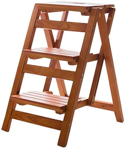 HOMRanger Escalera con peldaños Silla Taburete Multifunción Escalera Plegable de Madera Escalera Biblioteca para el hogar 3 peldaños Capacidad 150 kg