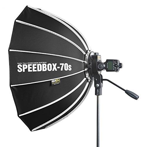 SMDV Speedbox D70s Firefly Pro Beauty Softbox Diffuser (Leuchtfläche 70 cm, mit Speedbracket, geeignet für Fast alle System-Blitzgeräte) schwarz/grau