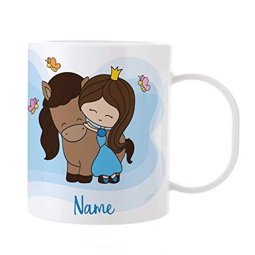 Striefchen® Kinder Tasse aus Kunststoff mit Wunschnamen - Motiv: Prinzessin mit Ihrem Pferd