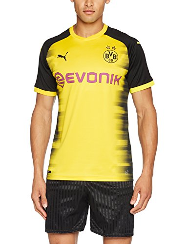 PUMA Herren T-Shirt BVB Int'l Replica Shirt with Sponsor Logo, Cyber Yellow-puma Black, L, 751675 11