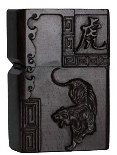 Natürliches Ebenholz Schwarz Holz geschnitzt Feuerzeug Shell Box für Zippo Modul (Zodiac Tiger)