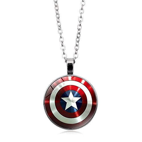 CLEARNICE Collar de Hombre Collar Marvel para Hombres Capitán América Collares Los Vengadores 4 Hombre De Hierro Thor Martillo Colgante para Las Mujeres