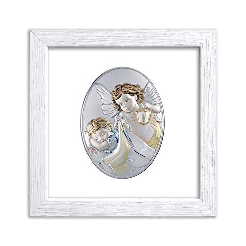 Quadretto in Legno con Placca Sacra Argentata Ovale Colorata Ideale Come Bomboniera Battesimo Comunione Matrimonio e Anniversari - Made in Italy. (Angelo con Lanterna 2 Bianca, Piccola)