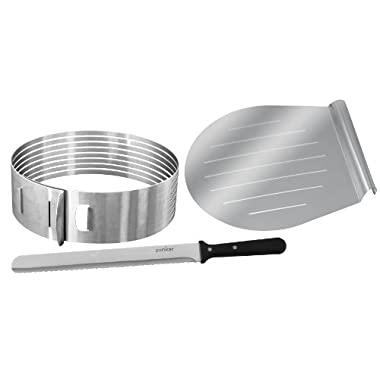 Zenker Stainless Steel Layer Cake Slicing Kit with 12  Serrated Knife, 3-Piece
