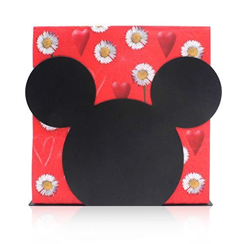 Finex Serviettenhalter mit Micky-Maus-Kopf, Edelstahl, für Küche, Tisch, Party, Schwarz