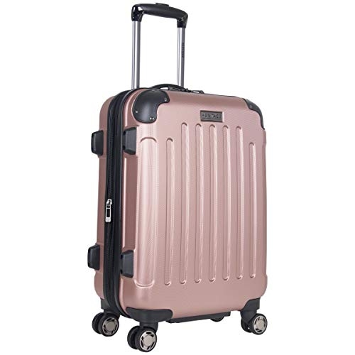 Heritage Travelware Logan Square 20' Lightweight Hardside Expandable 8-Wheel Spinner Carry-On Suitcase, Metallic Rose Gold