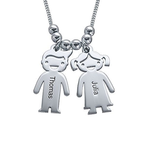 MyNameNecklace Personalized Engraving Charms Mothers Necklace-Engraved Boy Girl Charm Jewelry Gift for Mom, Wife, Mother Day (Sterling Silver 925, 2 Charms)