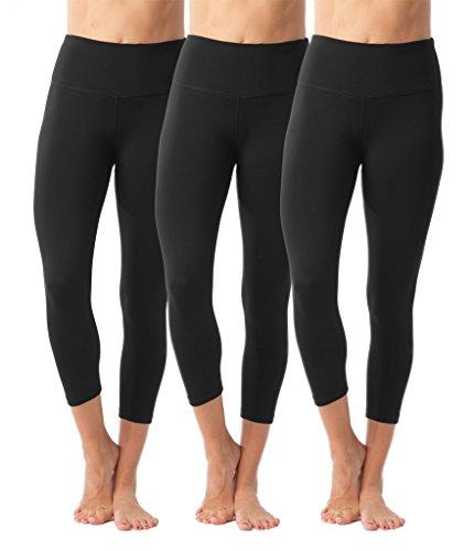 90 Degree By Reflex – High Waist Tummy Control Shapewear – Power Flex Capri - Black 3 Pack - XS