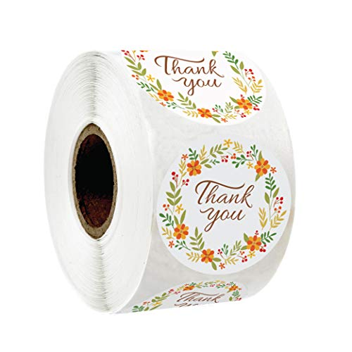 """Floral Thank You Sticker Labels 1.5"""" Round 500 Stickers per roll for Appreciation, Wedding Favors, Birthdays, Baby Shower and Small Business"""