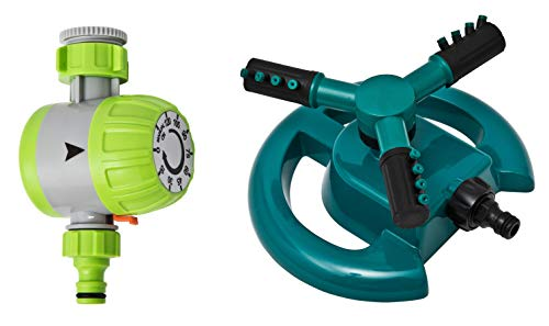 Sprinkler mit Zeitschaltuhr Kreisregner dreiarmiger Kreis-Rasensprenger 15-120 Min. 15° -45° Sprühwinkel wählbare Geschwindigkeit Sprinkleranlage automatische rundum Bewässerung Garten Schaltuhr