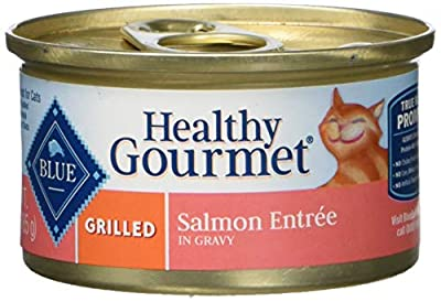 Blue Buffalo Healthy Gourmet Natural Adult Wet Cat Food, Grilled Salmon 3-oz cans (Pack of 24)