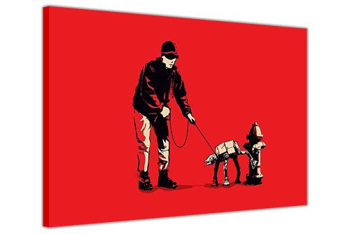 Rot auf Leinwand, Banksy Prints Man Walking Imperial AT-AT Dog Star Wars Bild Foto Print Home Dekoration Street Art Bilder Graffiti Fotos, canvas holz, rot, 8- A1 - (76 x 60 cm)