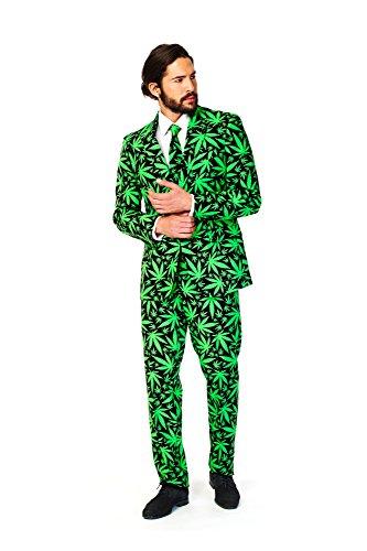 Cannaboss Gras Anzug Cannabis Marihuana Opposuit Slimline Premium 3-teilig, Multi-colored, 60