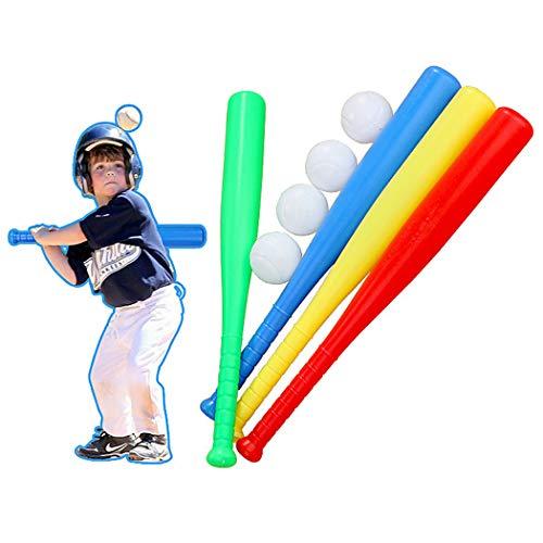Aniwon 4 Sets Toy Baseball Set Non-Slip Handle Outdoor Training Toy Baseball Bat Toy