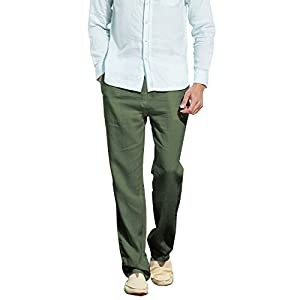 Men's Casual Lightweight Linen Trousers Drawstring Elastic Waist Summer Beach Pants