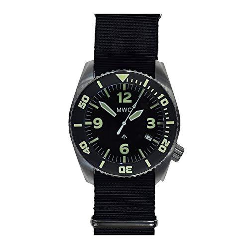MWC Dephtmaster - Reloj automático de acero negro y zafiro de cerámica con fecha Diver de tela de la OTAN militar para hombre
