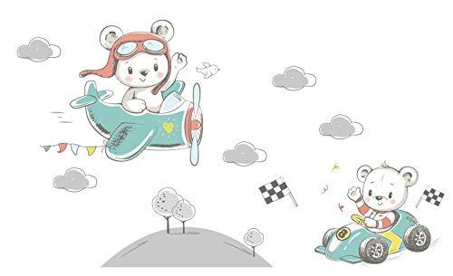 Adhesivos de Pared para niños. Pegatina en la Pared avión Coche montañas Nubes soportar Cuarto de niños decoración decoración de Pared niño jardín de la Infancia