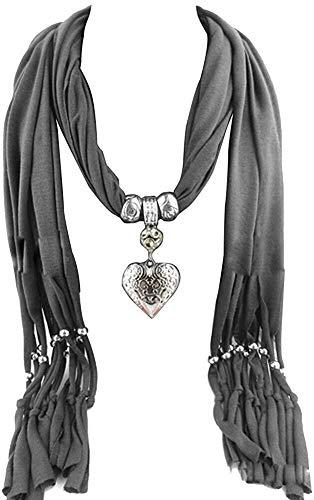 Collar de Moda para Mujer Pañuelos de Mujer con Colgante en Forma de corazón - Hermosas Bufandas con Flecos Bufandas de la joyería Dama Hembra, tamaño: un tamaño, Color: Color Caqui Izar
