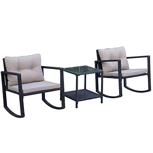 Outsunny 3PCs Rattan Furniture Set Patio Bistro Set 2 Rocking Chairs and CoffeeTable Outdoor Conversation with Cushion - Black