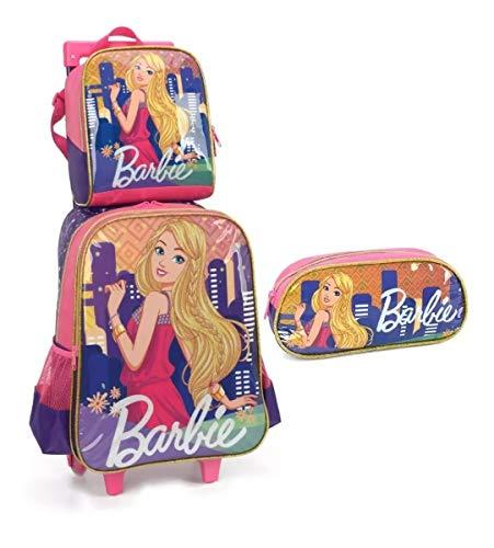 Kit Mochila Infantil Escolar Rodinha Barbie Glitter Luxcel G