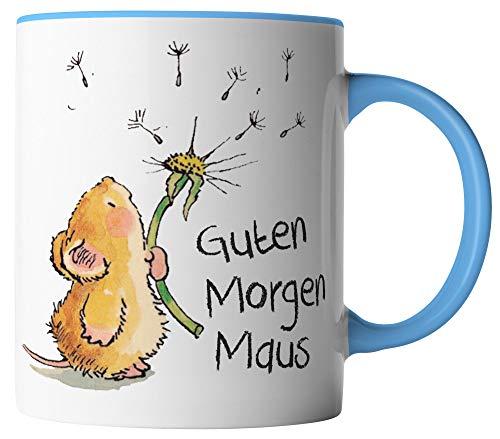 vanVerden Tasse - Guten Morgen Maus - beidseitig Bedruckt - Geschenk Idee Kaffeetasse mit Spruch, Tassenfarbe:Weiß/Blau