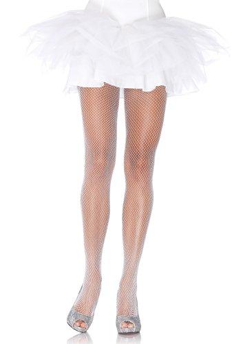 Leg Avenue glitter visnet panty dames, wit, één maat