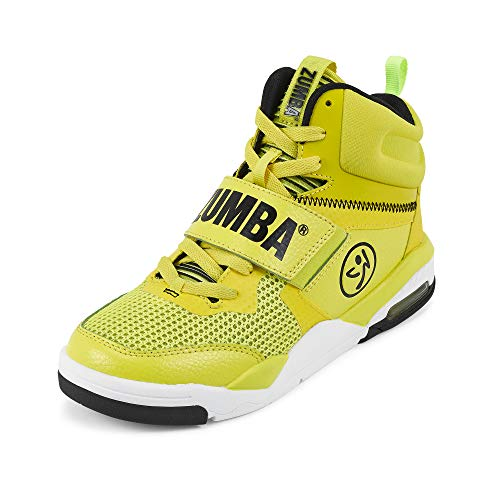 Zumba Air Classic Remix High Top Shoes Dance Fitness Workout Sneakers for Women, Yellow 0, 5