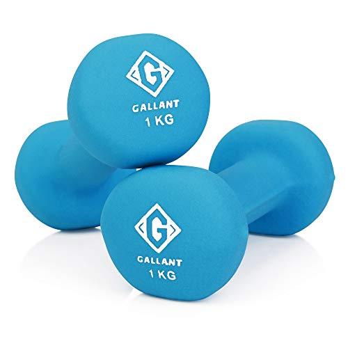 Gallant Neoprene Hand Weights Dumbells   Excellent Dumbbells Pair for Men Women   2kg Weight Set - 1kg X2
