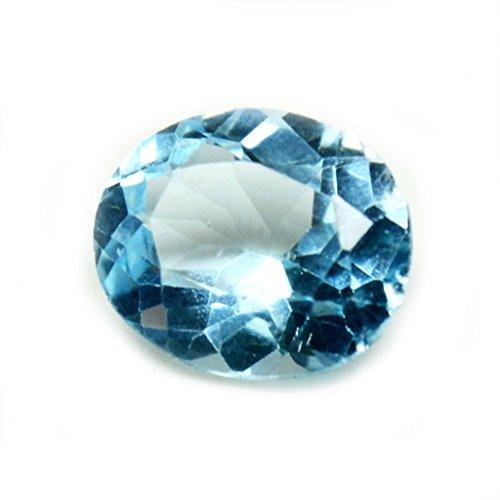 Gemsonclick - Piedra natural de topacio azul de 5,75quilates, diseño ovalado