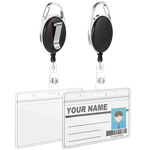 5 Stück Ausweis JoJo Ausweishülle JoJo Ausweisjojo mit für ID Badge Holder 5 StückWasserdichter Ausweishülle(Schwarz)