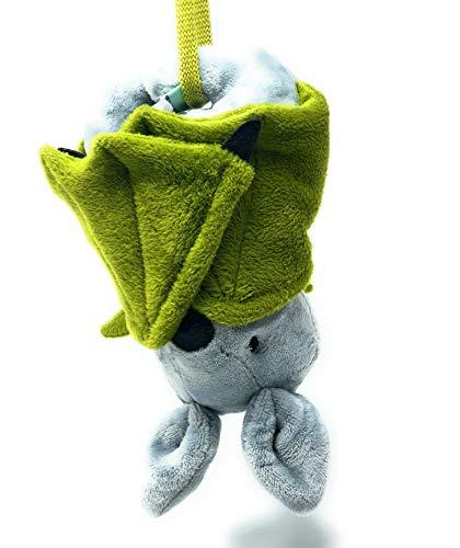 Personalisiertes Kuscheltier für Spieluhr Fledermaus Plüschtier Fledermaus grau- grün personalisierbar mit Namen und Wunschmelodie Ihrer Wahl aus kuschelweichen, kinder-gerechten Plüsch