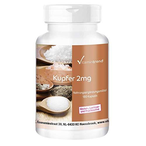 Cobre - 2mg - Alta dosificación - vegano - 180 cápsulas - Para la pigmentación del cabello