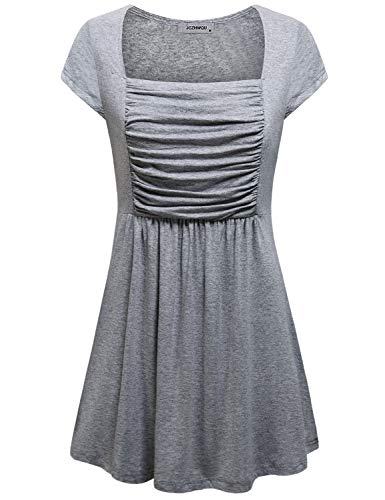 Empire Waist Top, Juniors Clothing Tops Square Neck Short Sleeve Swing Flared T Shirt Dress Trendy Solid Pleated Highwaist Babydoll Tunic Blouse Spring Wear Grey XL