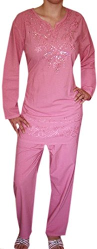 DIVA-MODE Damen Bestickt Tunika Casual Top Kleid Hose (Set) Damen große größen Tunika (Rosa)