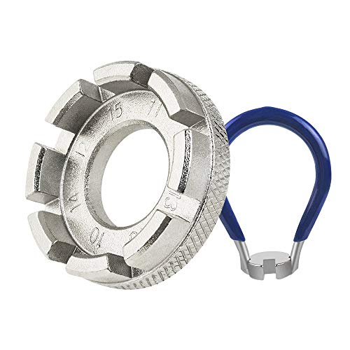 DECARETA Fahrrad Speichenschlüssel aus Stahl, Größe 10-15 Universal Speichenspanner für Fahrrad, Leichtes Elektrofahrzeug, Nippelspanner Speichen Werkzeug (Silber)