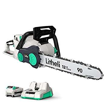 Litheli Battery Chainsaw 12  40V Cordless Chainsaw Chain Saw for Trees with 2.0Ah Battery & Charger Included
