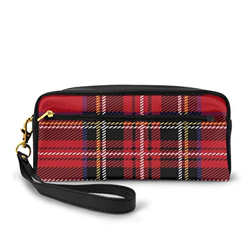 Yuanmeiju Red Plaid Royal Stewart Tartan Pattern Small Makeup Bags Purse PU Leather Travel Cosmetic Pouch Simple Pencil Pouches