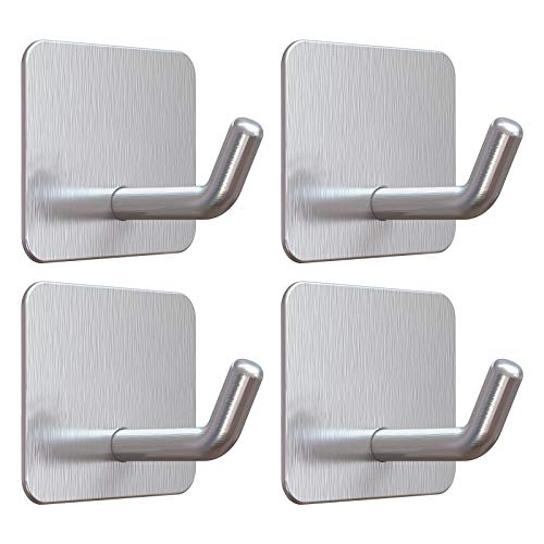 Adhesive Hooks, VIS'V Silver Stainless Steel Self Adhesive Hooks Heavy Duty Waterproof Kitchen Bathroom Shower Wall Sticky Hooks Without Nails for Towel Robe Loofah Coat Key Utensils - 4 Packs