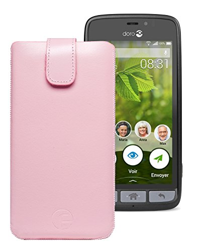 Original Favory Etui Tasche für Doro 8031 | Doro 8031C Leder Etui Handytasche Ledertasche Schutzhülle Hülle Hülle Lasche mit Rückzugfunktion* in rosa