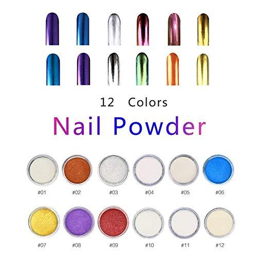 Nail Art Chrome Mirror Nail Art Set Shell Pearl Mermaid Nail Glitter Kit-Shiny Iridescent Ceramic Pearl Mermaid Nails 12 Pcs