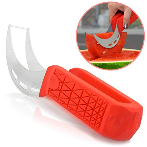 commercial Sleeké's watermelon cutter is a new extra long handle with silicone shock absorption for cutting and cutting. watermelon slicers