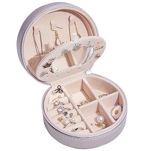 Joyero 4.3 pulgadas de cuero sintético,organizador de pulseras de viaje, estuche de almacenamiento,anillos pequeños,collar,pendientes, exhibición,organizador de almacenamiento Silver