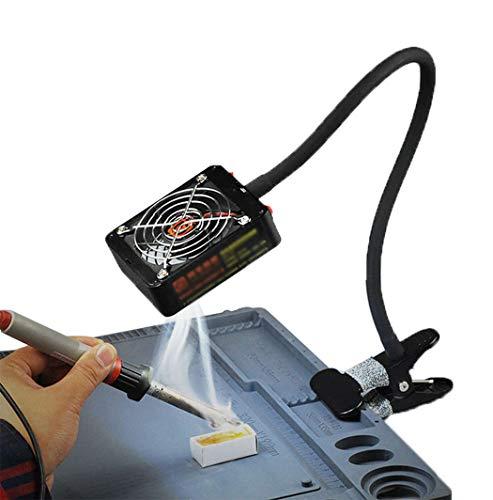 Ventilador De Escape del Obturador, Extractor De Humos 12V con 12 Luces LED, Extractor De Humos De Soldadura Antiestático para Manualidades De Electrónica Estación De Soldadura Estación De Soldadura