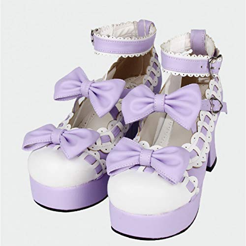 HHXXTTXS Lolita Cosplay Shoes Princess Lace Trim Double Straps Sweet Bow Chunky High Heels Platfrom Shoes