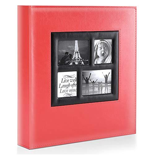 Benjia Fotoalbum Einsteckalbum 10x15 500 Fotos, Vintage Leder Groß Hochzeit Familie Fotoalbum zum Einstecken Schwarze Seiten für 500 Pocket Bilder rot