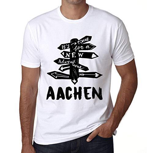 Herren Tee Männer Vintage T-Shirt Time for New Advantures Aachen Weiß