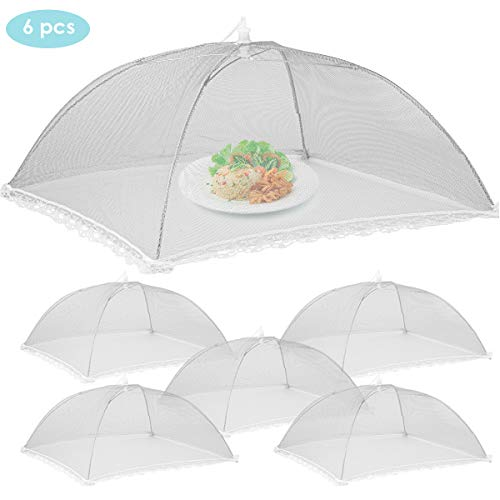 Ponacat Mesh Food Covers 17x17in Pop-Up Mesh Umbrella Tents for Outdoors Screen Tents Parties Picnics BBQs, Reusable and Collapsible Net Cover